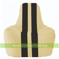 Кресло мешок Спортинг светло-бежевый - чёрный С1.1-130