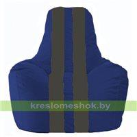 Кресло мешок Спортинг синий - тёмно-серый С1.1-118