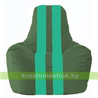 Кресло мешок Спортинг тёмно-зелёный - бирюзовый  С1.1-66