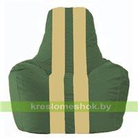 Кресло мешок Спортинг тёмно-зелёный - светло-бежевый С1.1-62