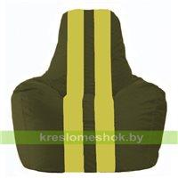 Кресло мешок Спортинг тёмно-оливковый - жёлтый С1.1-57