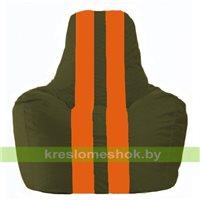 Кресло мешок Спортинг тёмно-оливковый - оранжевый С1.1-56