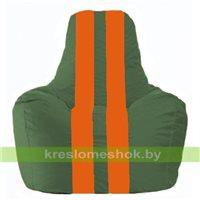 Кресло мешок Спортинг тёмно-зелёный - оранжевый С1.1-64