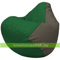 Бескаркасное кресло-мешок Груша Г2.3-0117 зелёный, серый