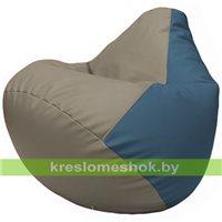 Бескаркасное кресло-мешок Груша Г2.3-0203 светло-серый, синий