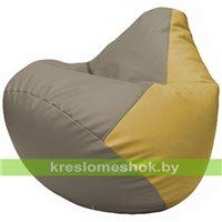 Бескаркасное кресло-мешок Груша Г2.3-0208 светло-серый, охра