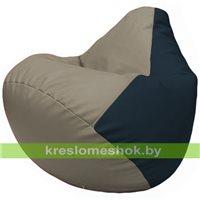 Бескаркасное кресло-мешок Груша Г2.3-0215 светло-серый, синий