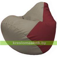 Бескаркасное кресло-мешок Груша Г2.3-0221 светло-серый, бордовый
