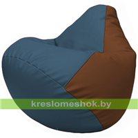 Бескаркасное кресло-мешок Груша Г2.3-0307 синий, коричневый