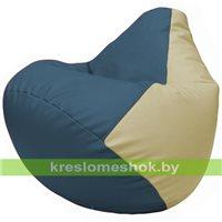 Бескаркасное кресло-мешок Груша Г2.3-0310 синий, светло-бежевый