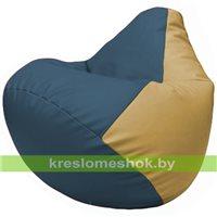 Бескаркасное кресло-мешок Груша Г2.3-0313 синий, бежевый