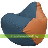 Бескаркасное кресло-мешок Груша Г2.3-0320 синий, оранжевый