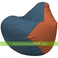 Бескаркасное кресло-мешок Груша Г2.3-0323 синий, оранжевый