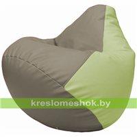 Бескаркасное кресло-мешок Груша Г2.3-0404 светло-серый, светло-салатовый