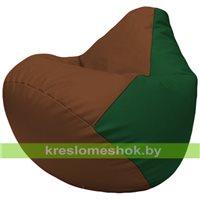 Бескаркасное кресло-мешок Груша Г2.3-0701 коричневый, зелёный