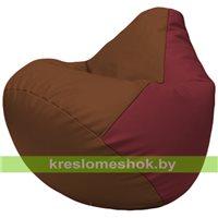 Бескаркасное кресло-мешок Груша Г2.3-0721 коричневый, бордовый
