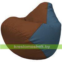 Бескаркасное кресло-мешок Груша Г2.3-0736 коричневый, голубой