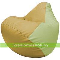 Бескаркасное кресло-мешок Груша Г2.3-0804 охра, светло-салатовый