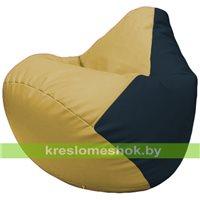 Бескаркасное кресло-мешок Груша Г2.3-0815 охра, синий