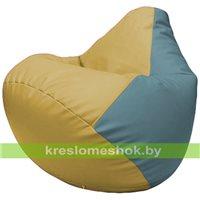 Бескаркасное кресло-мешок Груша Г2.3-0836 охра, голубой