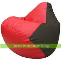 Бескаркасное кресло-мешок Груша Г2.3-0916 красный, чёрный