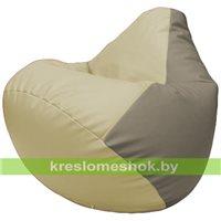 Бескаркасное кресло-мешок Груша Г2.3-1002 светло-бежевый, светло-серый