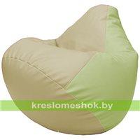 Бескаркасное кресло-мешок Груша Г2.3-1004 светло-бежевый, светло-салатовый