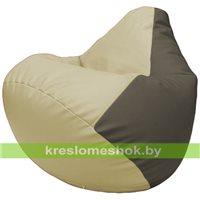 Бескаркасное кресло-мешок Груша Г2.3-1017 светло-бежевый, серый
