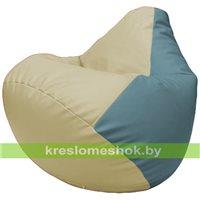 Бескаркасное кресло-мешок Груша Г2.3-1036 светло-бежевый, голубой