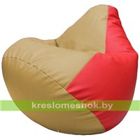 Бескаркасное кресло-мешок Груша Г2.3-1309 бежевый, красный