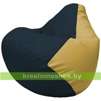 Бескаркасное кресло-мешок Груша Г2.3-1508 синий, охра