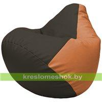 Бескаркасное кресло-мешок Груша Г2.3-1620 чёрный, оранжевый