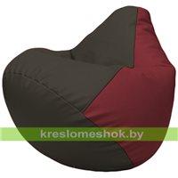 Бескаркасное кресло-мешок Груша Г2.3-1621 чёрный, бордовый
