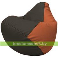 Бескаркасное кресло-мешок Груша Г2.3-1623 чёрный, оранжевый