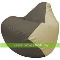 Бескаркасное кресло-мешок Груша Г2.3-1710 серый, светло-бежевый