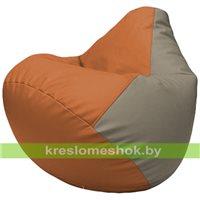 Бескаркасное кресло-мешок Груша Г2.3-2002 оранжевый, светло-серый