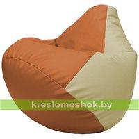 Бескаркасное кресло-мешок Груша Г2.3-2010 оранжевый, светло-бежевый