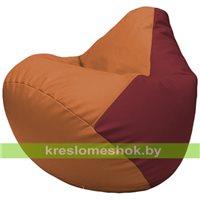 Бескаркасное кресло-мешок Груша Г2.3-2021 оранжевый, бордовый