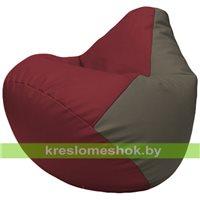 Бескаркасное кресло-мешок Груша Г2.3-2117 бордовый, серый