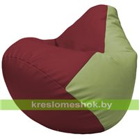 Бескаркасное кресло-мешок Груша Г2.3-2119 бордовый, оливковый