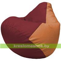 Бескаркасное кресло-мешок Груша Г2.3-2120 бордовый, оранжевый