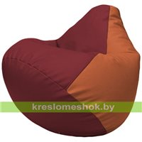 Бескаркасное кресло-мешок Груша Г2.3-2123 бордовый, оранжевый
