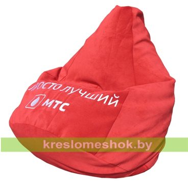 Кресло-мешок Груша Красный велюр с вышивкой