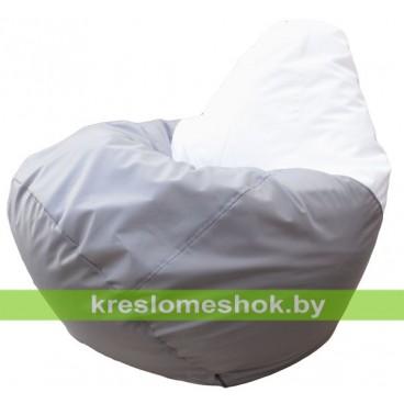 Кресло мешок Груша Элегант (основа серая, вставка белая)