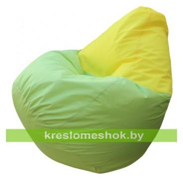 Кресло мешок Груша Макси Хэппи (основа салатовая, вставка жёлтая)