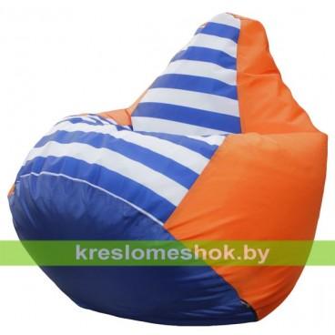 Кресло мешок Груша Макси Дачное (основа оранжевая, вставка синяя и полосатая)