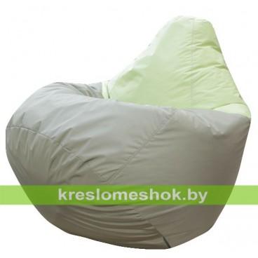 Кресло мешок Груша Виконт (основа оливковая тёмная, вставка салатовая)