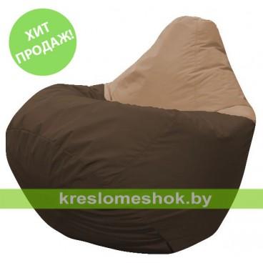 Кресло мешок Груша Лео (основа коричневая, вставка бежевая)
