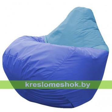 Кресло мешок Груша Астра (основа синяя, вставка голубая)