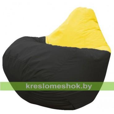 Кресло мешок Груша Твист (основа чёрная, вставка жёлтая)